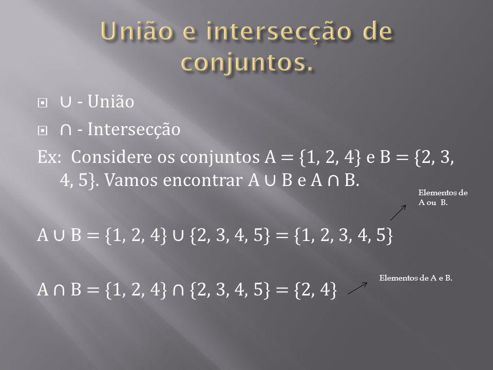 União e intersecção de conjuntos.
