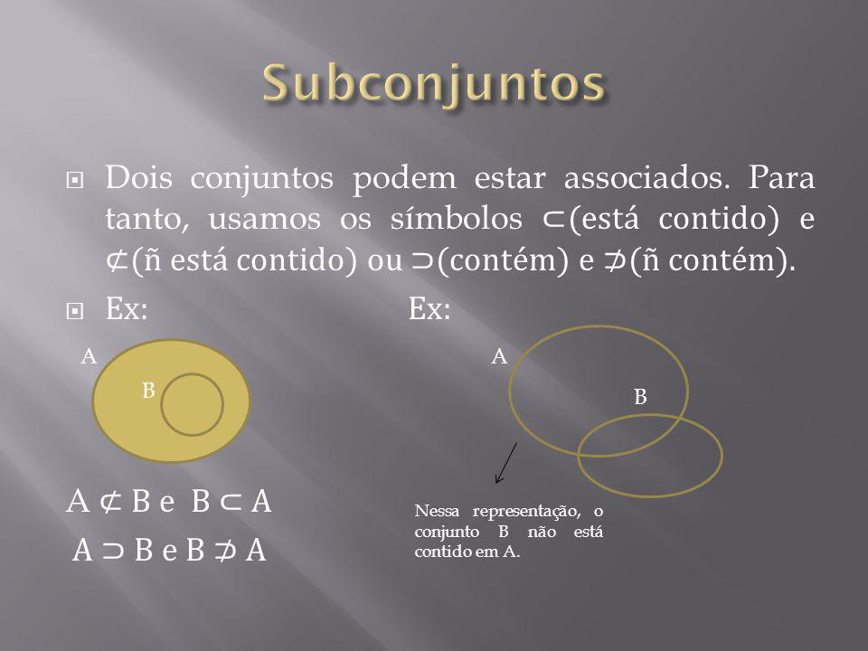 Subconjuntos Dois conjuntos podem estar associados. Para tanto, usamos os símbolos ⊂(está contido) e ⊄(ñ está contido) ou ⊃(contém) e ⊅(ñ contém).