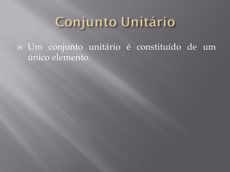 Conjunto Unitário Um conjunto unitário é constituído de um único elemento.