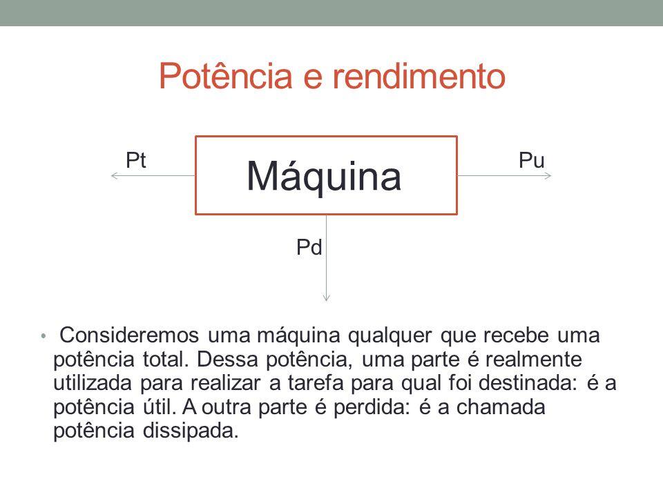 Máquina Potência e rendimento Pt Pu Pd