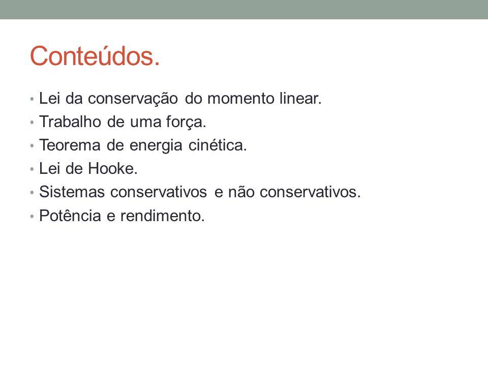 Conteúdos. Lei da conservação do momento linear.