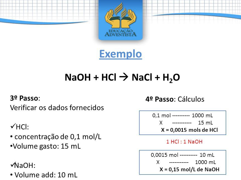 Exemplo NaOH + HCl  NaCl + H2O 3º Passo: 4º Passo: Cálculos