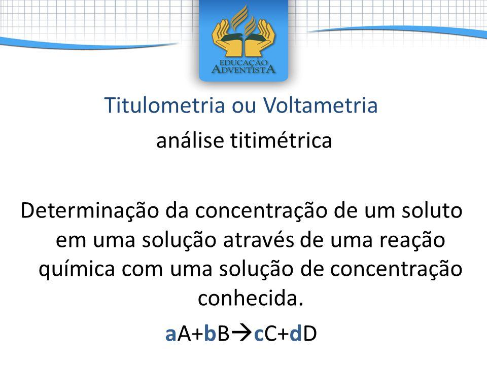 Titulometria ou Voltametria análise titimétrica Determinação da concentração de um soluto em uma solução através de uma reação química com uma solução de concentração conhecida.