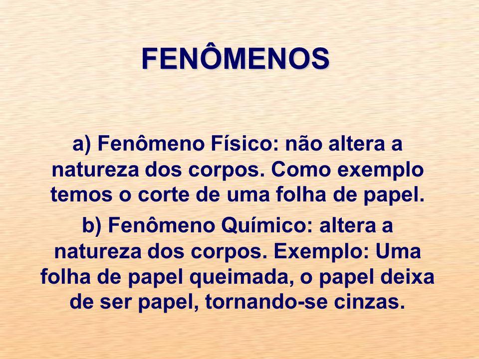 FENÔMENOS a) Fenômeno Físico: não altera a natureza dos corpos. Como exemplo temos o corte de uma folha de papel.