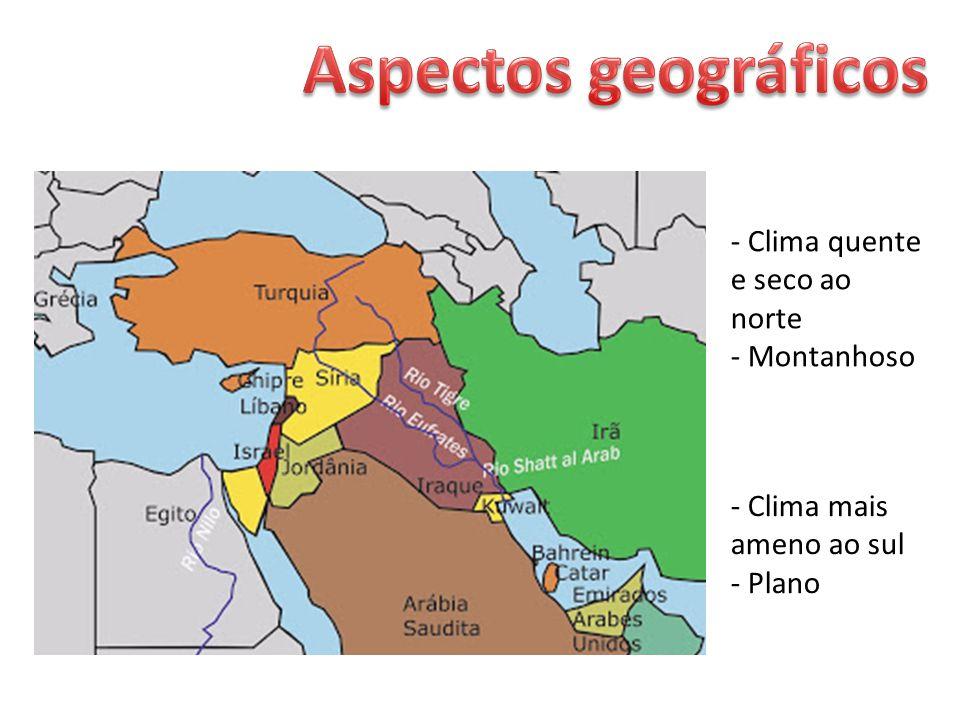 Aspectos geográficos - Clima quente e seco ao norte - Montanhoso