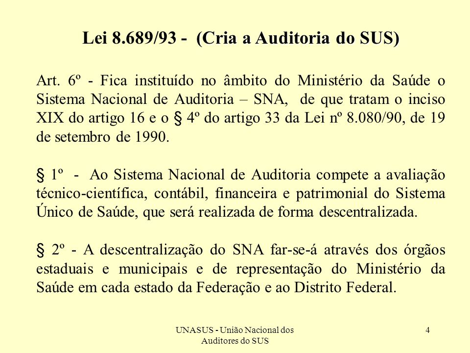 Lei 8.689/93 - (Cria a Auditoria do SUS)
