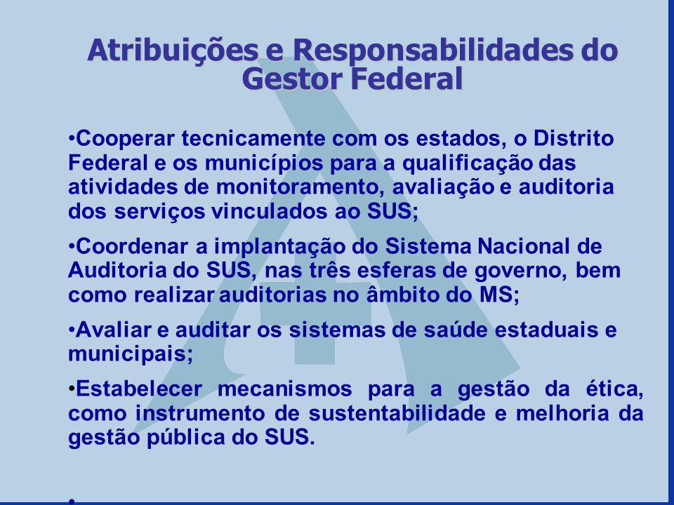 Atribuições e Responsabilidades do Gestor Federal