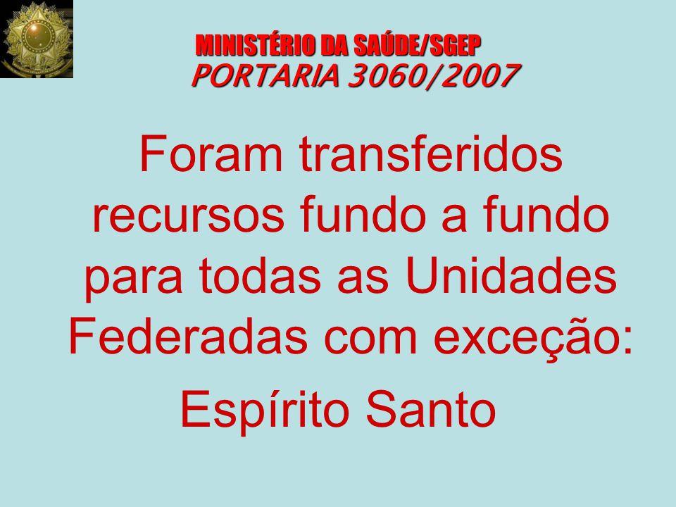 MINISTÉRIO DA SAÚDE/SGEP PORTARIA 3060/2007