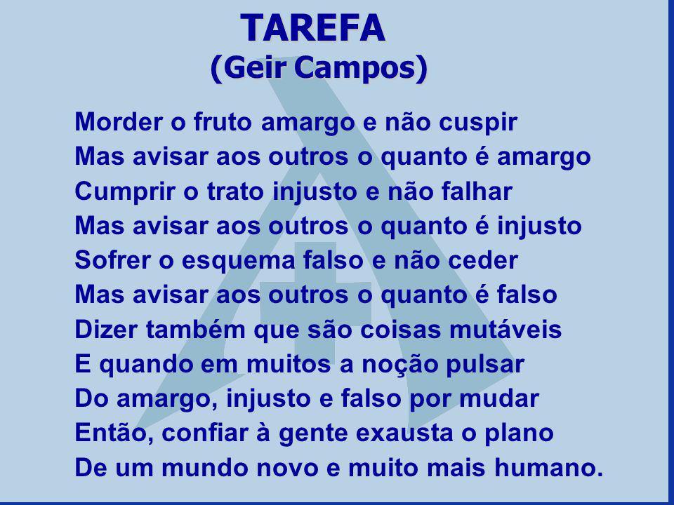 TAREFA (Geir Campos) Morder o fruto amargo e não cuspir