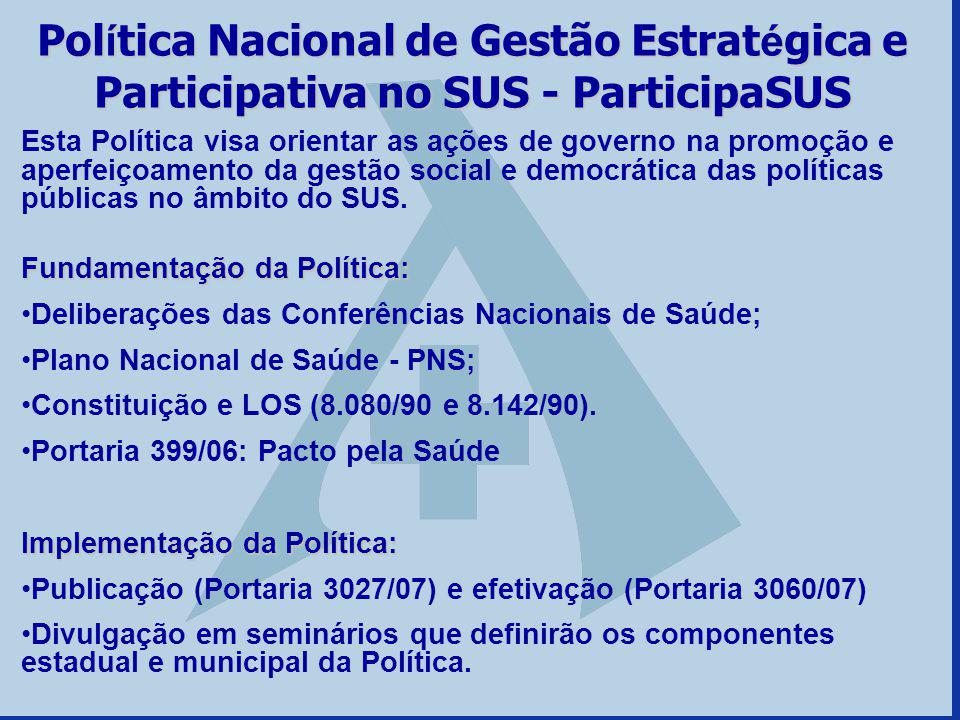 Política Nacional de Gestão Estratégica e Participativa no SUS - ParticipaSUS