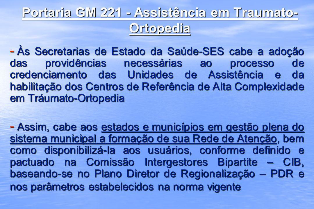 Portaria GM 221 - Assistência em Traumato-Ortopedia