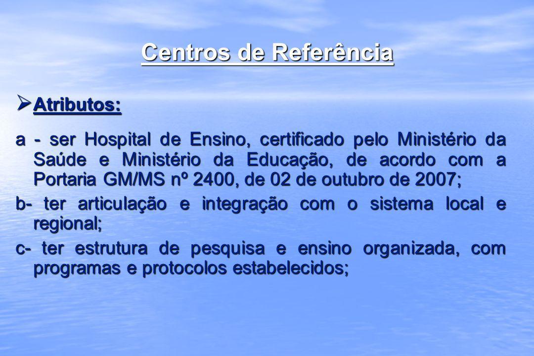 Centros de Referência Atributos: