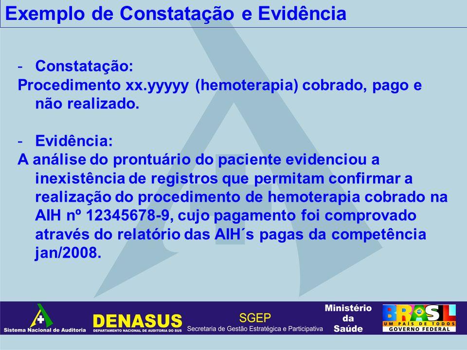 Exemplo de Constatação e Evidência