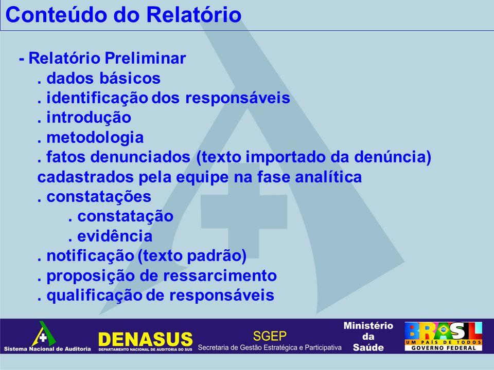 Conteúdo do Relatório - Relatório Preliminar . dados básicos