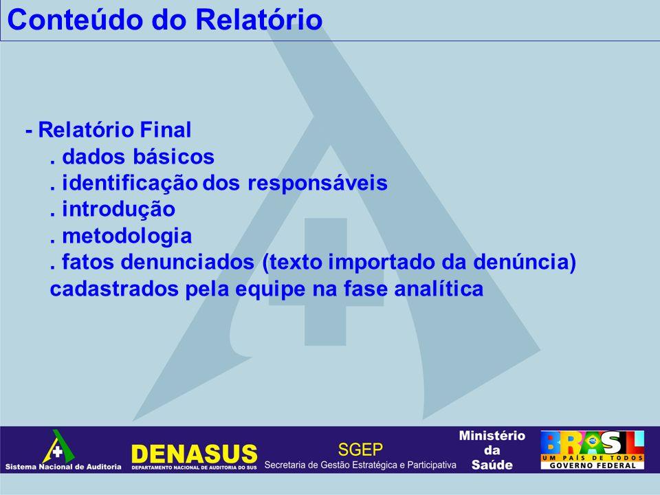 Conteúdo do Relatório - Relatório Final . dados básicos