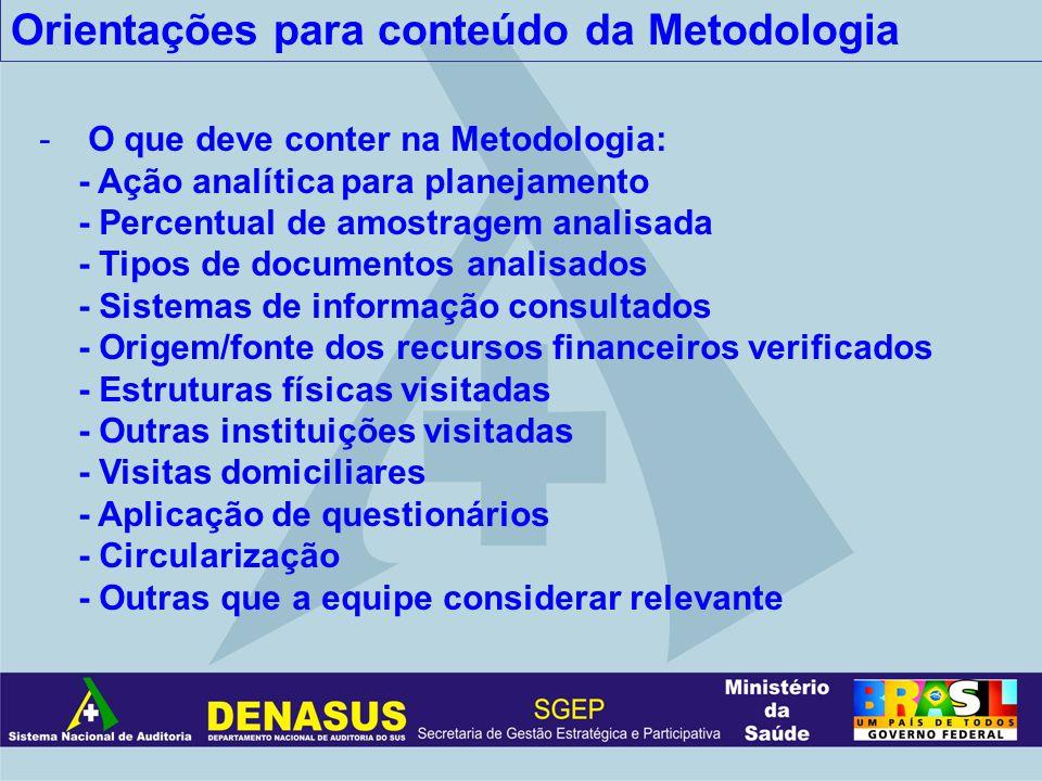 Orientações para conteúdo da Metodologia