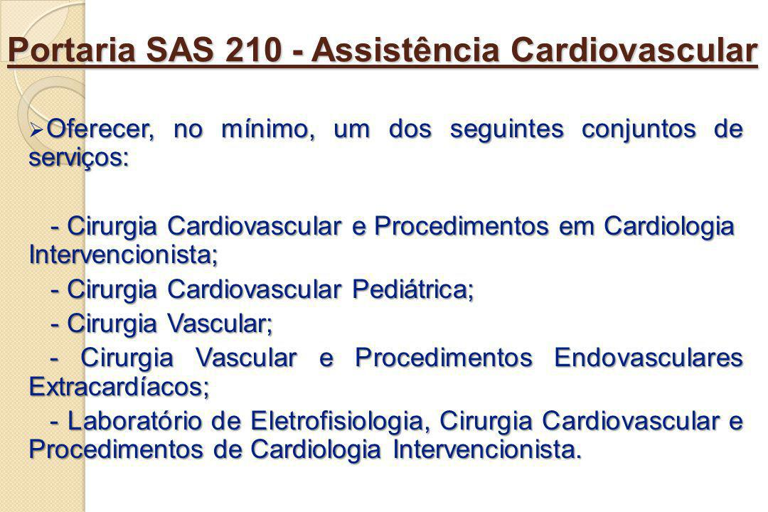 Portaria SAS 210 - Assistência Cardiovascular