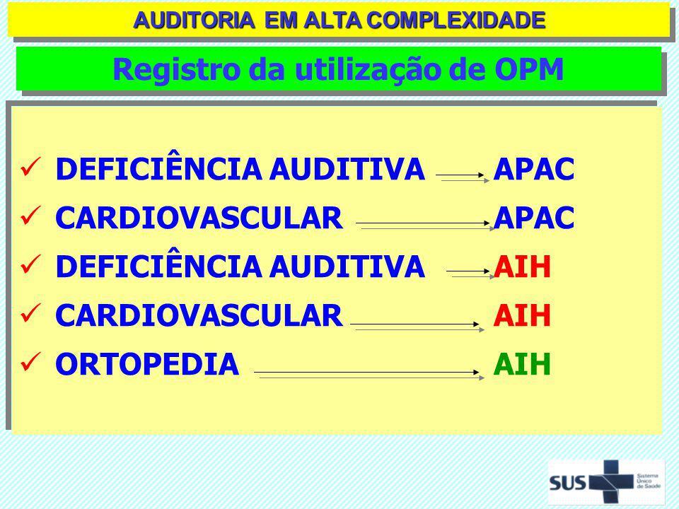 AUDITORIA EM ALTA COMPLEXIDADE Registro da utilização de OPM