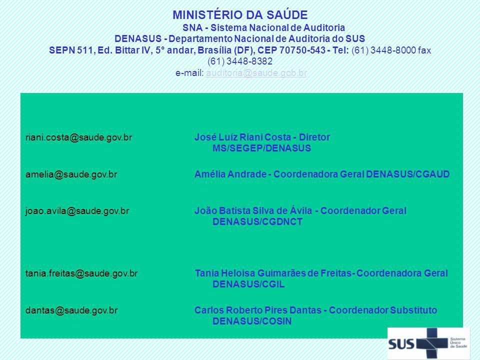 MINISTÉRIO DA SAÚDE SNA - Sistema Nacional de Auditoria DENASUS - Departamento Nacional de Auditoria do SUS SEPN 511, Ed. Bittar IV, 5° andar, Brasília (DF), CEP 70750-543 - Tel: (61) 3448-8000 fax (61) 3448-8382 e-mail: auditoria@saude.gob.br