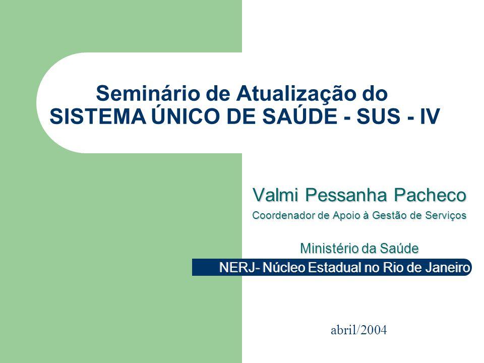 Seminário de Atualização do SISTEMA ÚNICO DE SAÚDE - SUS - IV