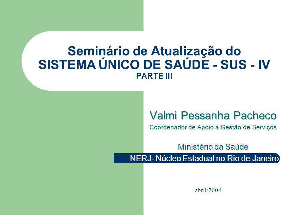 Seminário de Atualização do SISTEMA ÚNICO DE SAÚDE - SUS - IV PARTE III