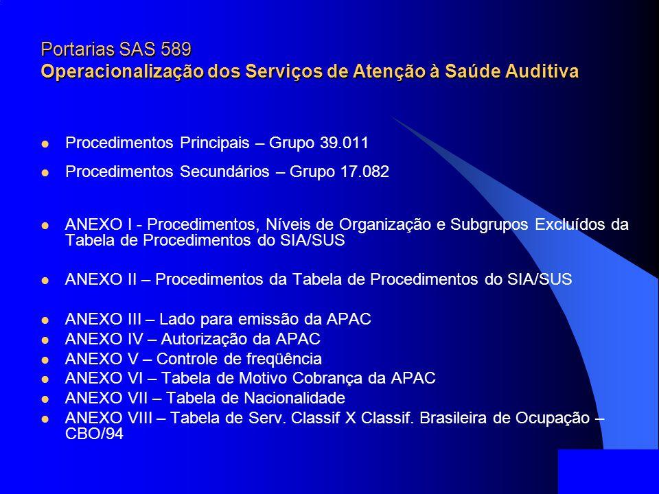 Portarias SAS 589 Operacionalização dos Serviços de Atenção à Saúde Auditiva