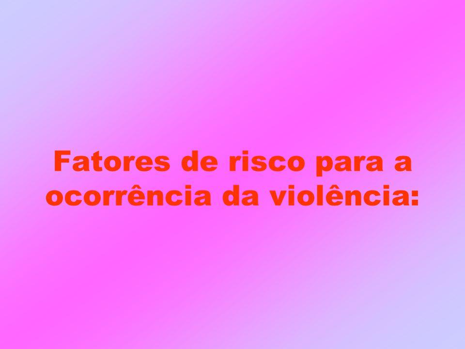 Fatores de risco para a ocorrência da violência: