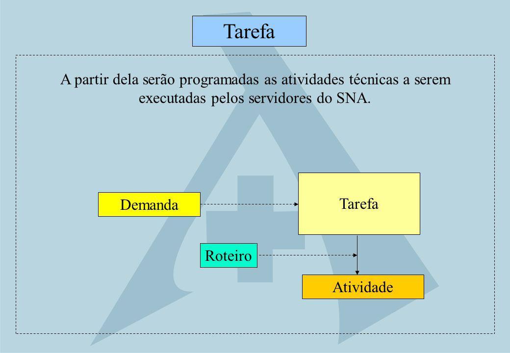 Tarefa A partir dela serão programadas as atividades técnicas a serem executadas pelos servidores do SNA.