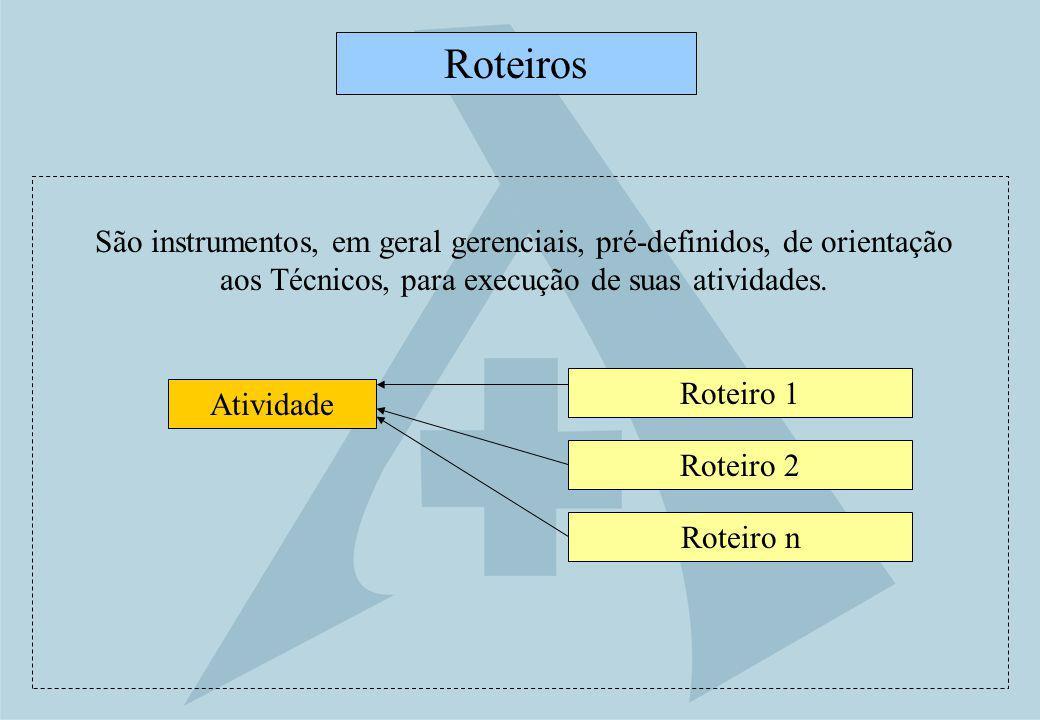 Roteiros São instrumentos, em geral gerenciais, pré-definidos, de orientação aos Técnicos, para execução de suas atividades.