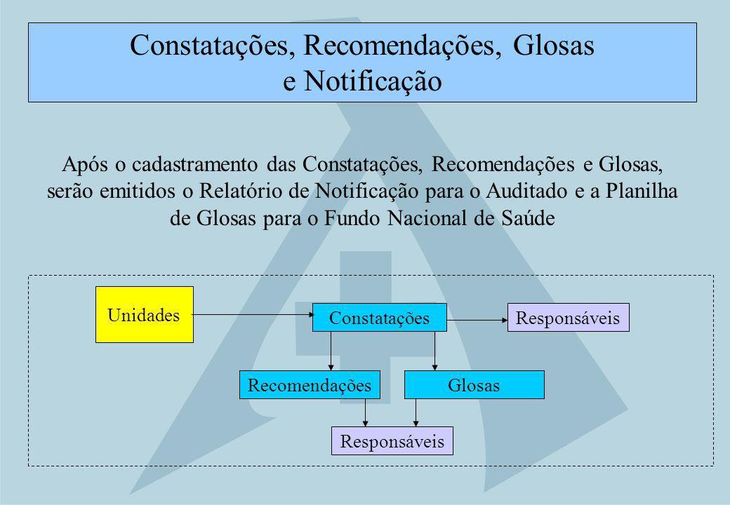Constatações, Recomendações, Glosas e Notificação