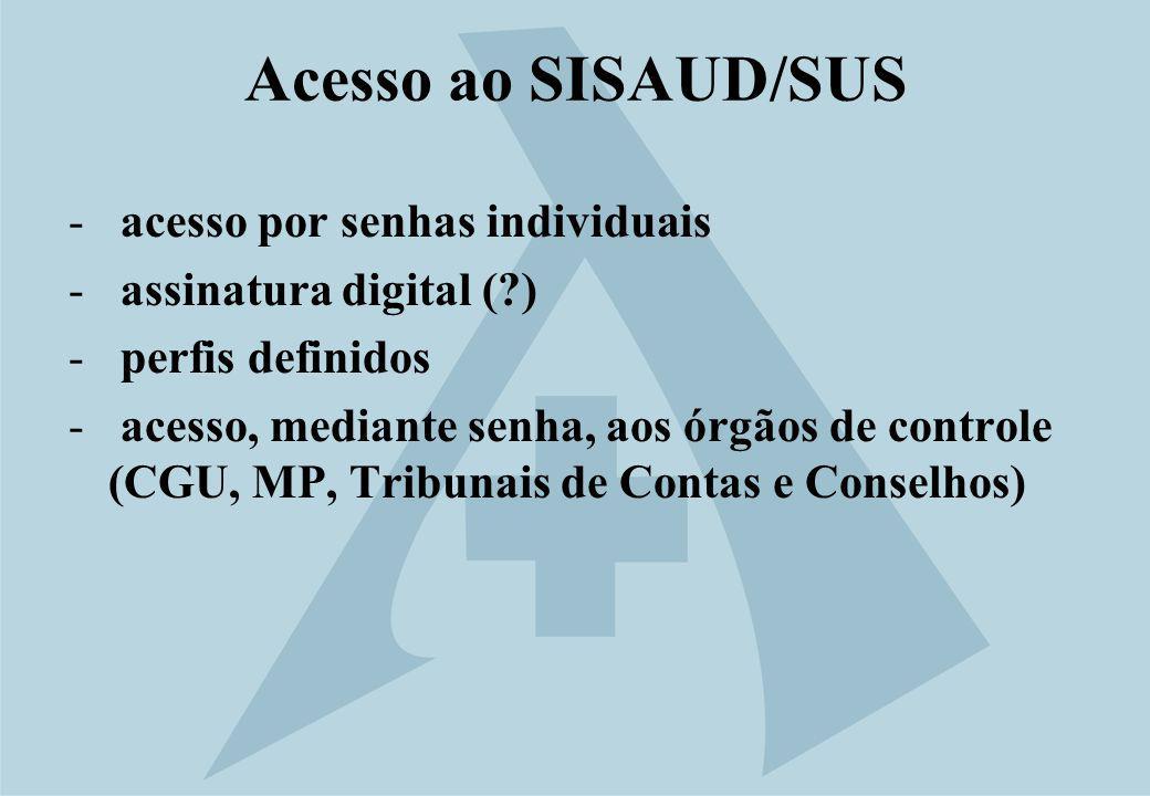 Acesso ao SISAUD/SUS acesso por senhas individuais