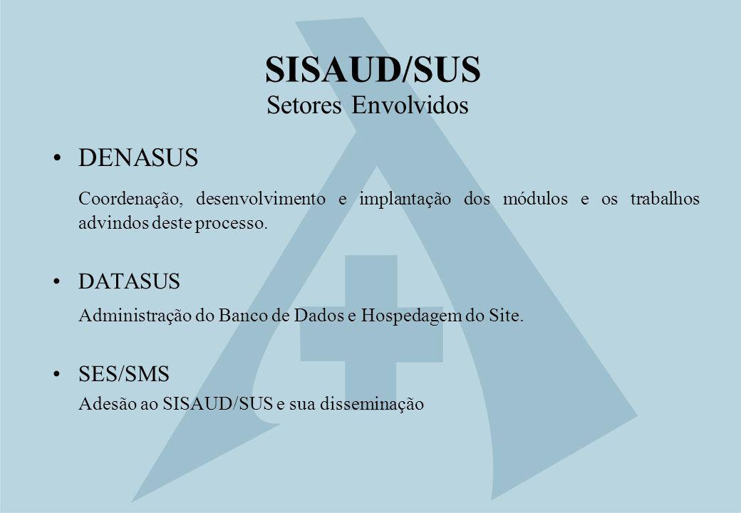SISAUD/SUS Setores Envolvidos DENASUS