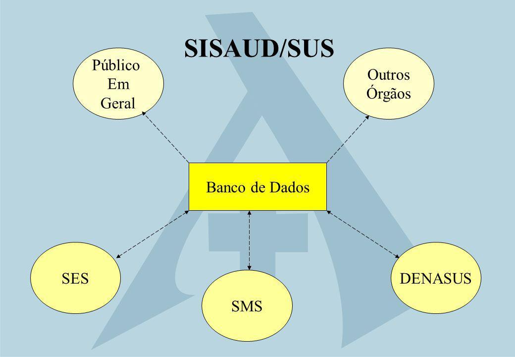 SISAUD/SUS Público Em Geral Outros Órgãos Banco de Dados SES DENASUS