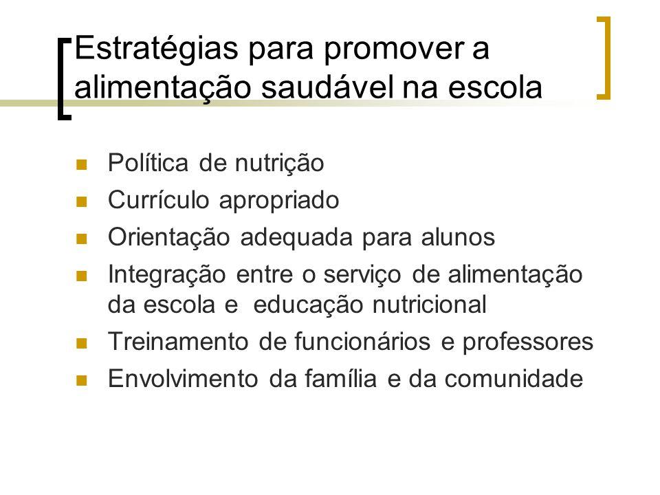 Estratégias para promover a alimentação saudável na escola