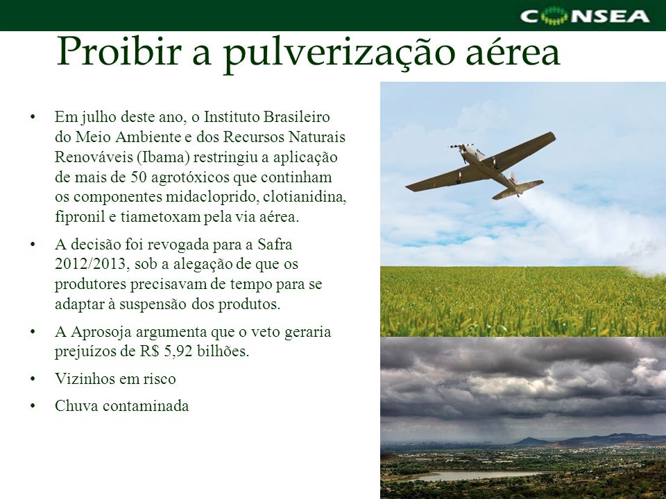 Proibir a pulverização aérea