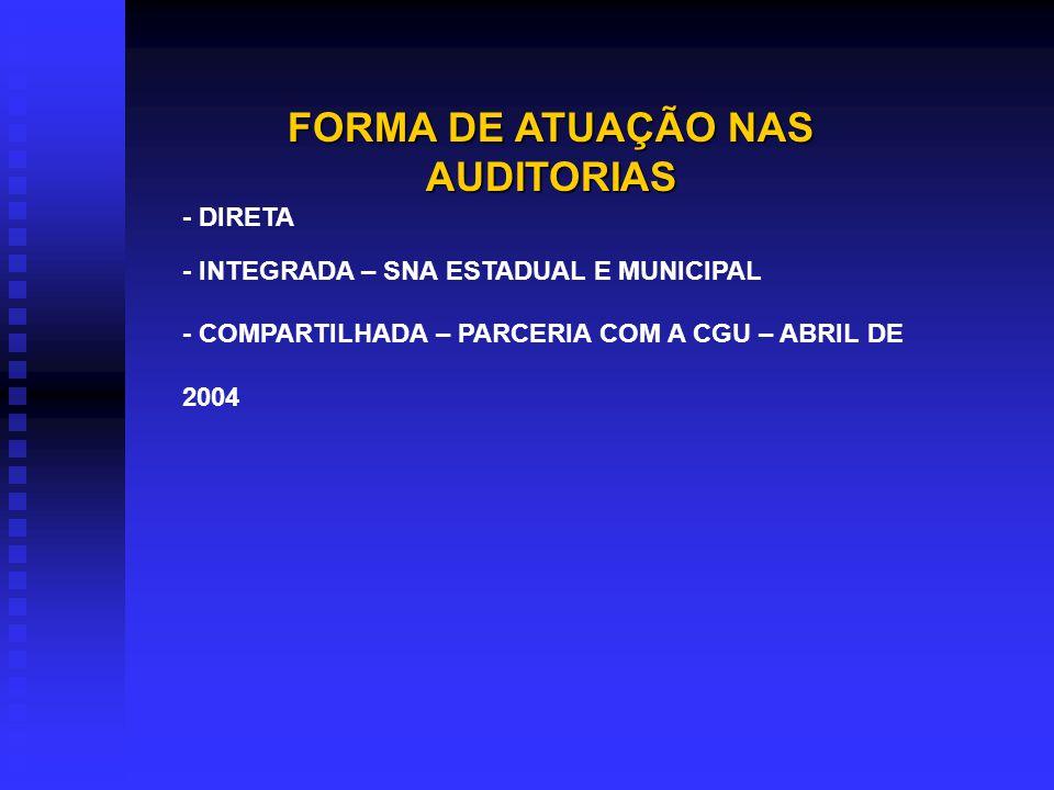 FORMA DE ATUAÇÃO NAS AUDITORIAS