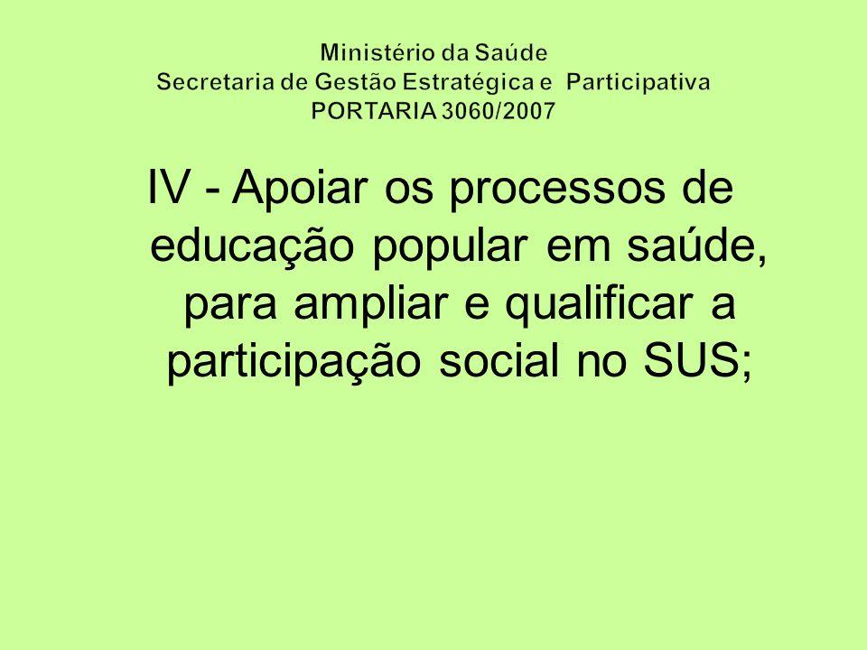 Ministério da Saúde Secretaria de Gestão Estratégica e Participativa PORTARIA 3060/2007