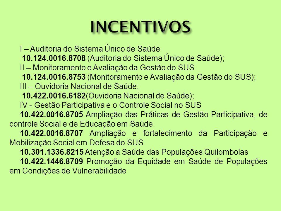 INCENTIVOS I – Auditoria do Sistema Único de Saúde