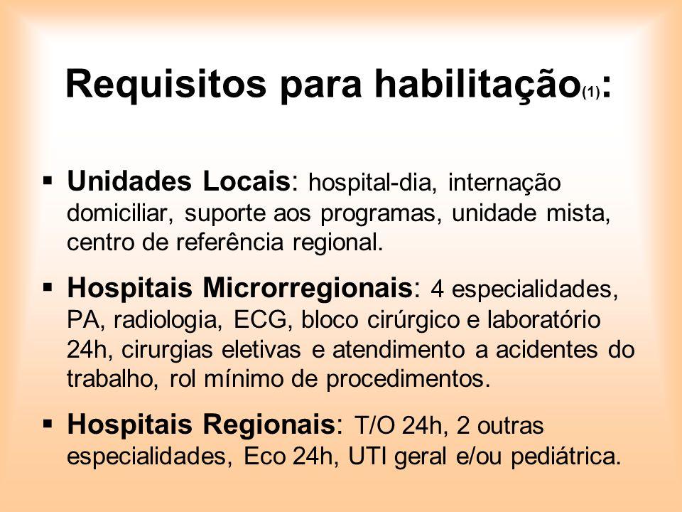 Requisitos para habilitação(1):