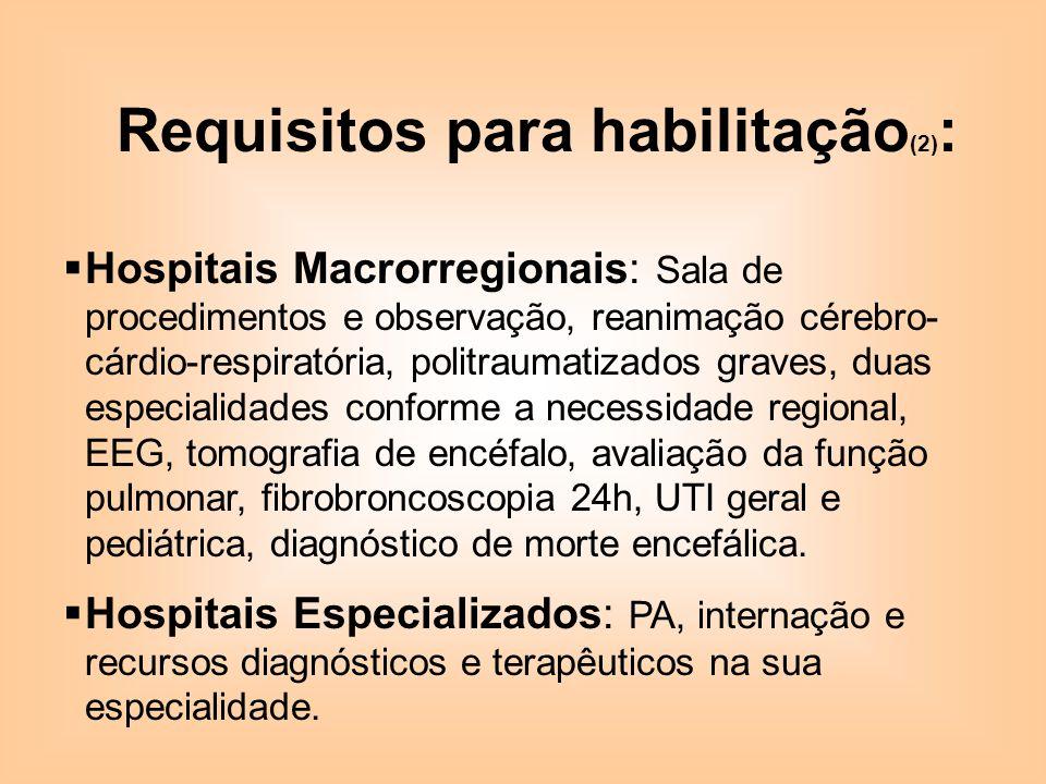 Requisitos para habilitação(2):