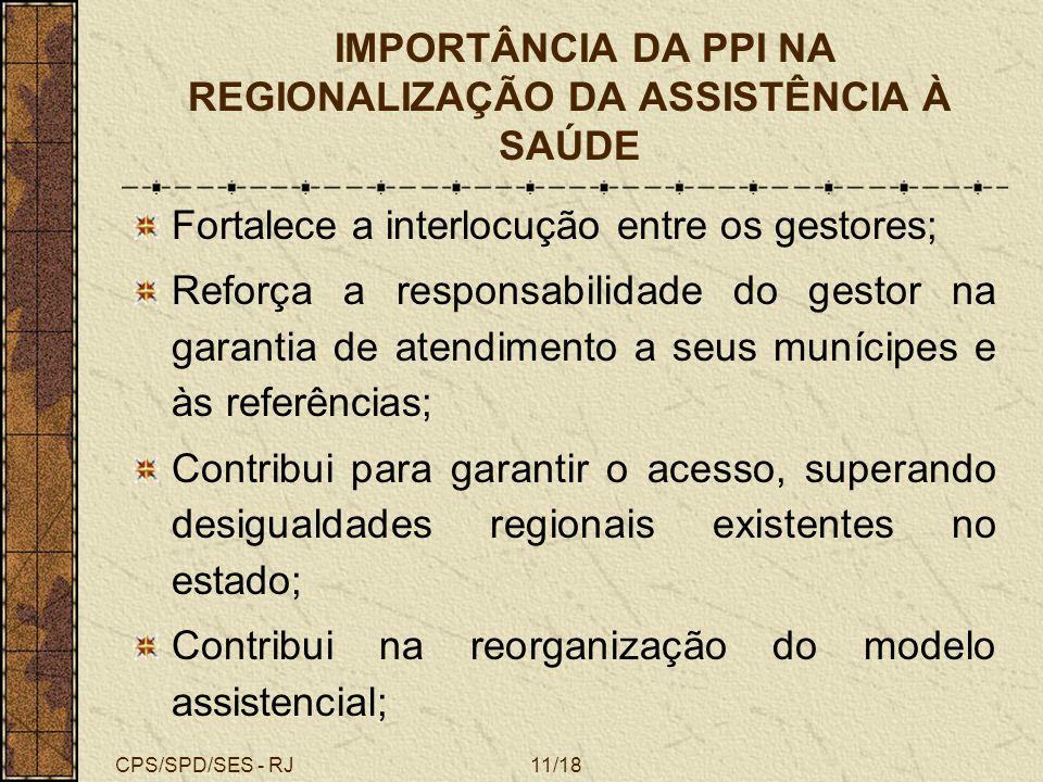 IMPORTÂNCIA DA PPI NA REGIONALIZAÇÃO DA ASSISTÊNCIA À SAÚDE