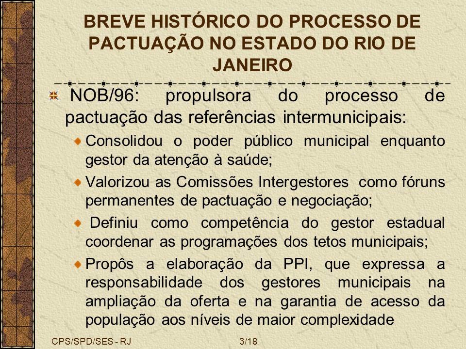 BREVE HISTÓRICO DO PROCESSO DE PACTUAÇÃO NO ESTADO DO RIO DE JANEIRO