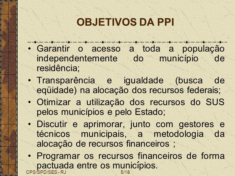 CPS/SPD/SES - RJ OBJETIVOS DA PPI. Garantir o acesso a toda a população independentemente do município de residência;