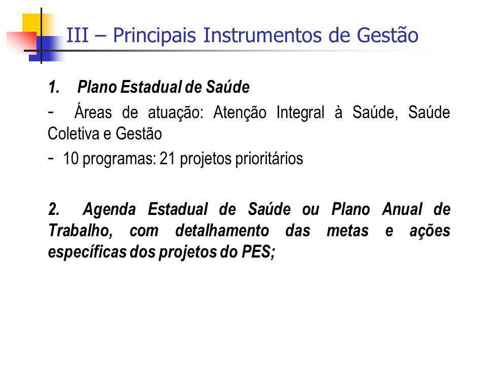III – Principais Instrumentos de Gestão