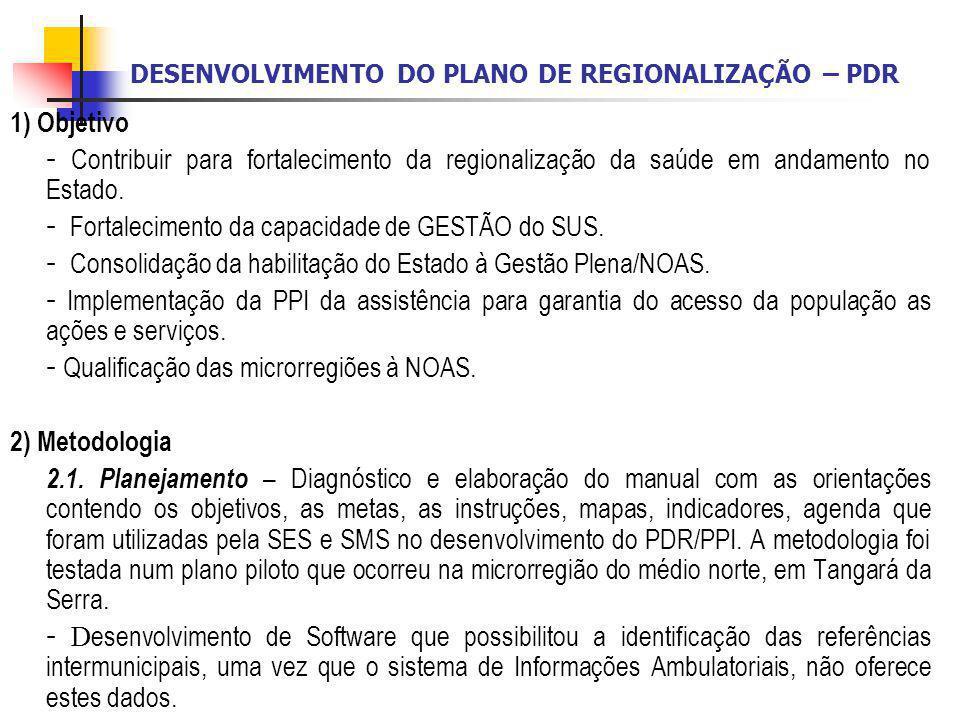 DESENVOLVIMENTO DO PLANO DE REGIONALIZAÇÃO – PDR