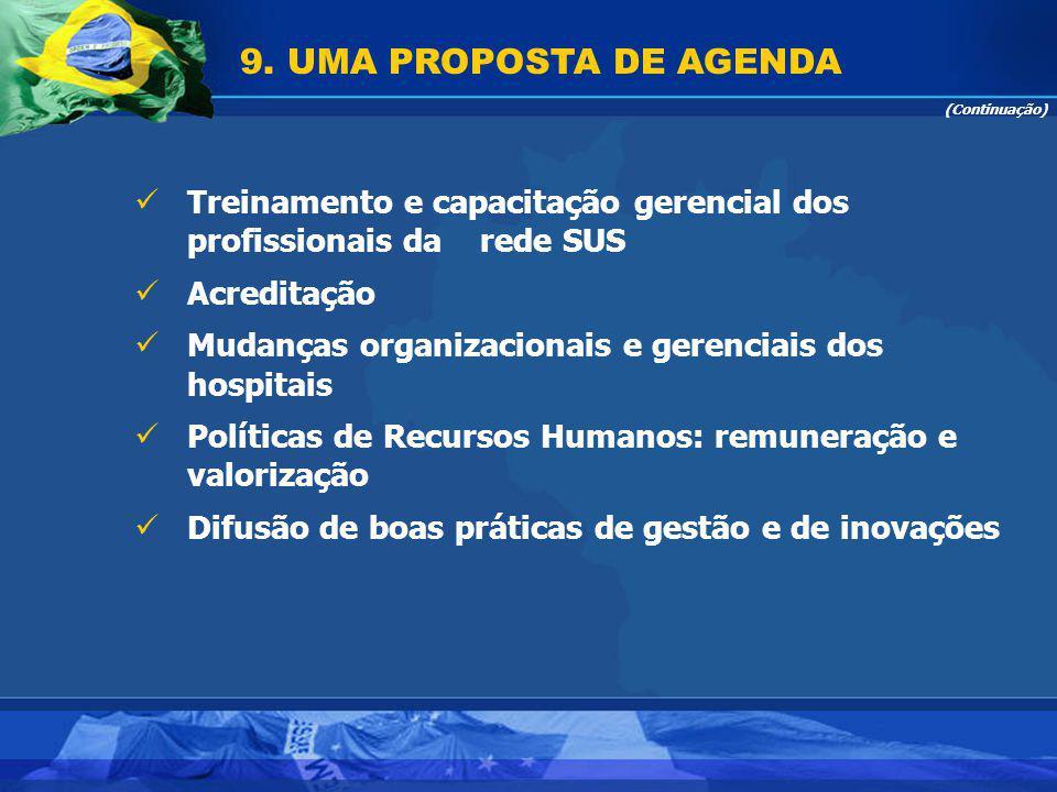 9. UMA PROPOSTA DE AGENDA (Continuação) Treinamento e capacitação gerencial dos profissionais da rede SUS.