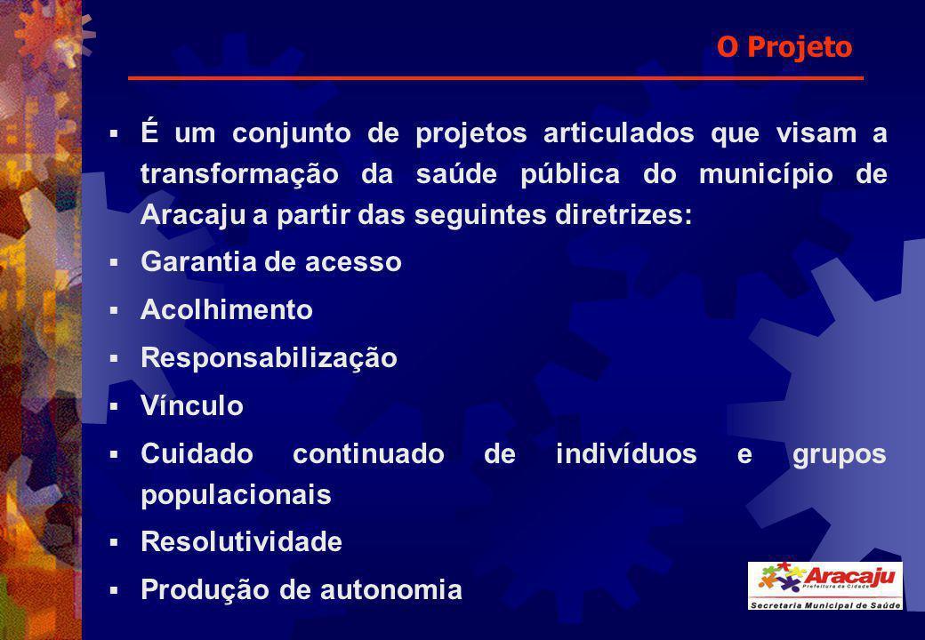 O Projeto É um conjunto de projetos articulados que visam a transformação da saúde pública do município de Aracaju a partir das seguintes diretrizes: