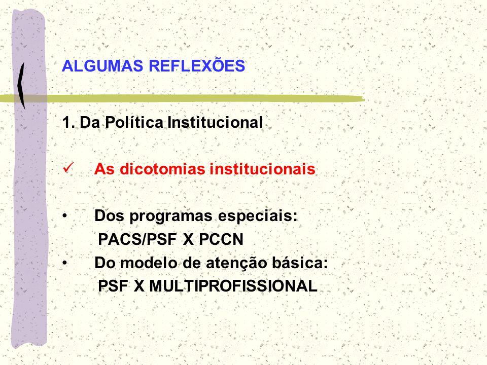 ALGUMAS REFLEXÕES 1. Da Política Institucional. As dicotomias institucionais. Dos programas especiais: