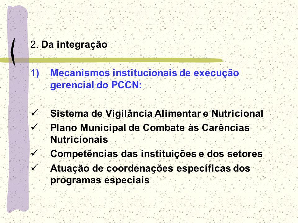 2. Da integração 1) Mecanismos institucionais de execução gerencial do PCCN: Sistema de Vigilância Alimentar e Nutricional.