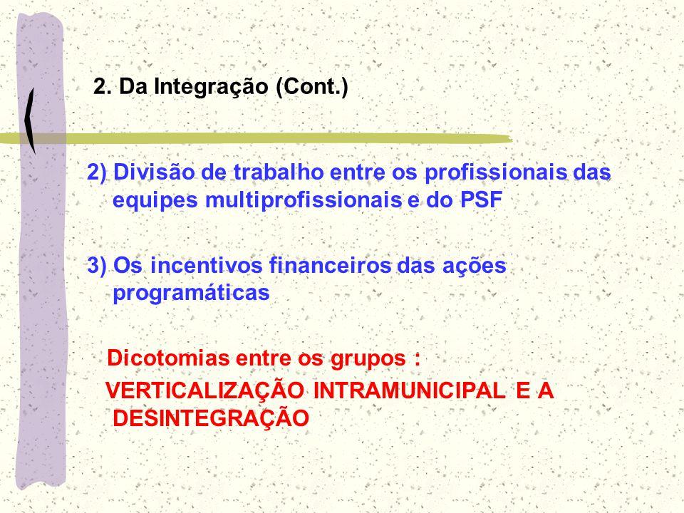 2. Da Integração (Cont.) 2) Divisão de trabalho entre os profissionais das equipes multiprofissionais e do PSF.